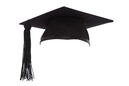 birrete: Junta Morteros o casquillo de la graduación aislado en un fondo blanco. Foto de archivo