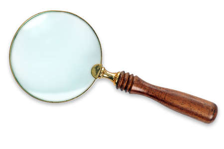 Brass Magnifying Glass with wooden handle Stock Photo - 18592195