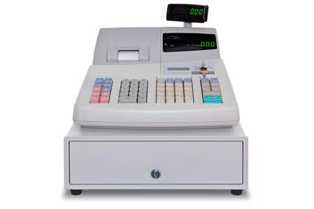 maquina registradora: Caja registradora electr�nica aislado en un fondo blanco con trazado de recorte.