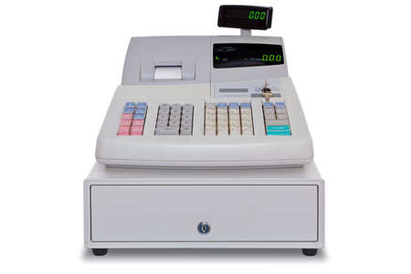Electronic cash register isolated on a white background with clipping path. Stock Photo