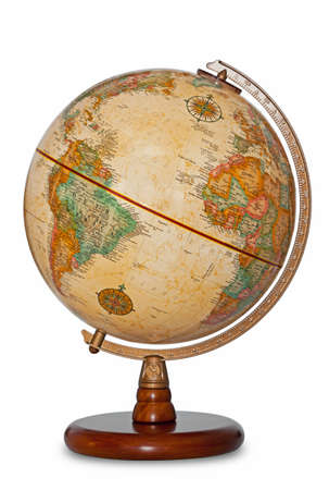 Antique world globe isolated on a white background with clipping path. photo