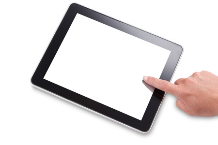 Hand and finger touching the screen of a tablet computer, isolated on white with a clipping path for outline and screen. Add your own message or image. Stock Photo