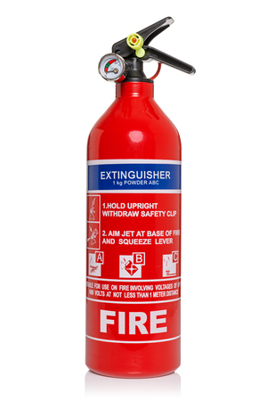 Fire extinguisher isolated on a white background  Standard-Bild