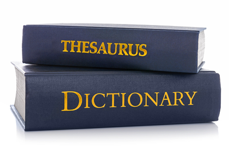 A Thesaurus and Dictionary isolated on a white background.