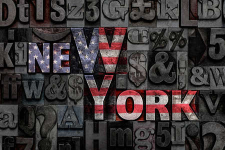 The words New York made from old metal letterpress letters with the colours of the American flag Standard-Bild