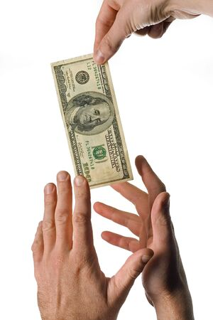 Hands Stretching For Dollars