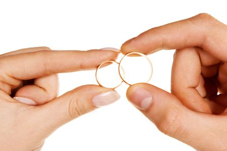 man woman fingers holding rings Stock Photo - 570131