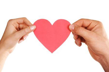 man woman hands holding heart