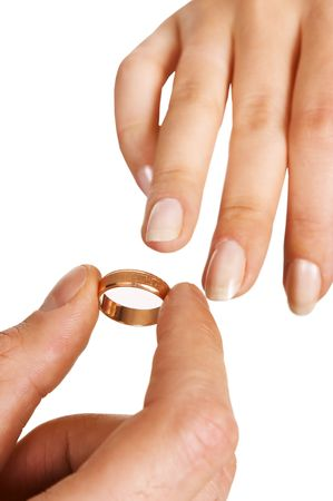 putting the ring on Stock Photo - 570115