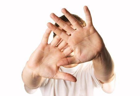 man hiding face Reklamní fotografie