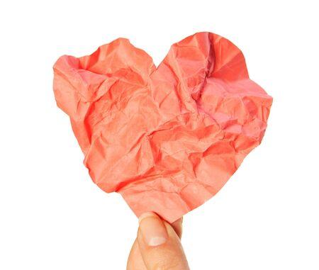 crumpled heart Stock Photo