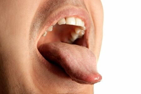 man mouth: mouth wide opened showin tongue Stock Photo