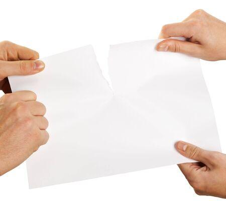 tearing sheet of paper