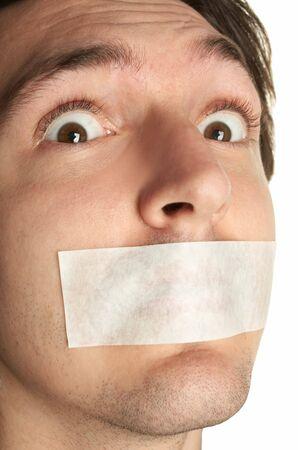 kokhalzen: bang man met gag Stockfoto