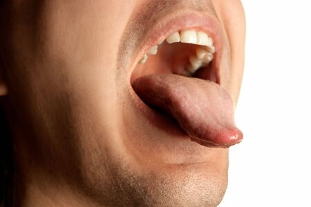 mouth opened: mouth wide opened showin tongue Stock Photo