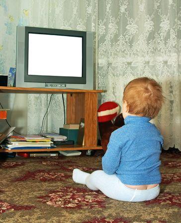 child watching TV Stock fotó