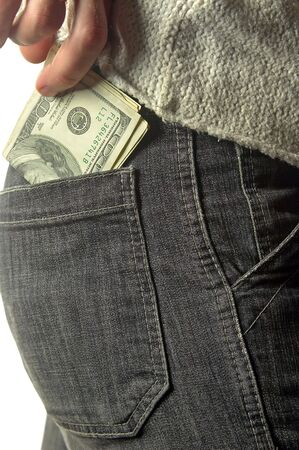 putting money in pocket: putting money into the pocket