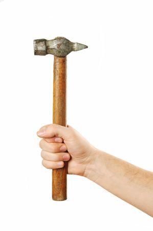 hand holding hammer Stock Photo - 699406