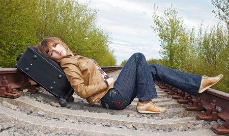lying on the railway