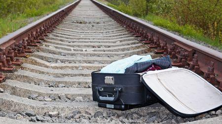 suitcase lying on the railway photo