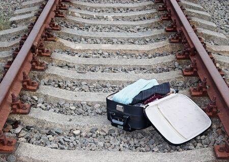 suitcase on the railway photo