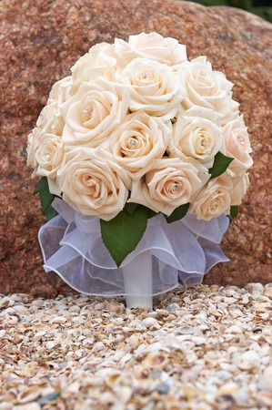 bride roses bouquet Stock Photo