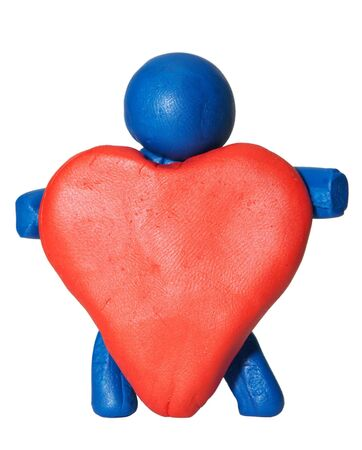 modelling clay: modelling clay man holding heart
