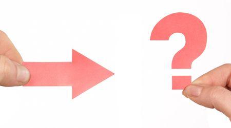 arrow and question mark photo