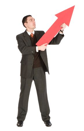 businessman pointing up  Stock Photo