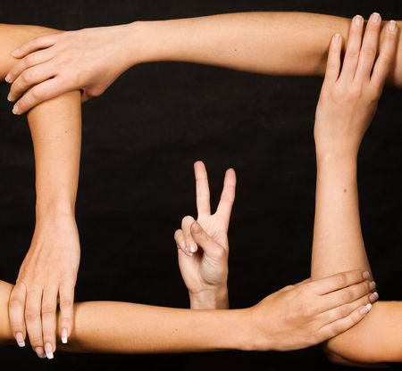 expressing: frame from hands with victory gesture Stock Photo