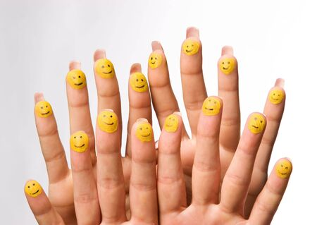 group of happy fingers