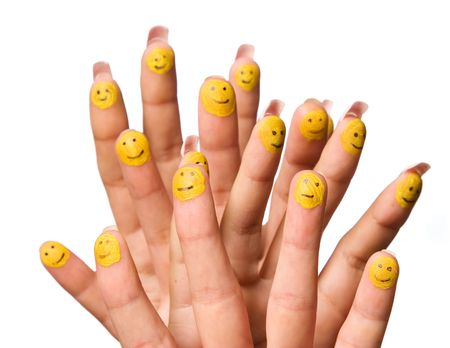 group of smiling happy fingers