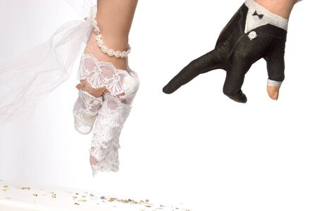 jumping hands painted as bride Stock Photo