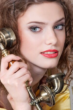 talking by vintage phone Stock Photo - 4306168