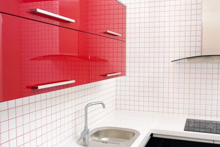 kitchen in red and white colors