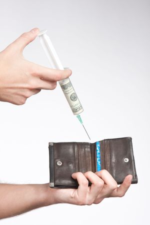 injected: wallet injected with money close up