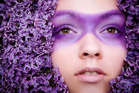 fashion lilac girl portrait close up