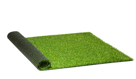 green carpet: twisted artificial green grass isolated on white Stock Photo