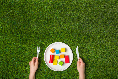 toy blocks: Hungry for creativity with wooden blocks Stock Photo