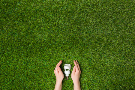 Hands guarding energy saving eco lamp over grass Stock Photo
