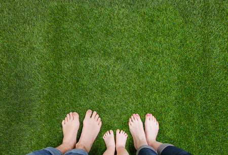 Family legs standing together on green grass