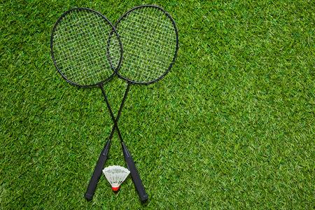 badminton: Crossed badminton rackets with shuttlecock