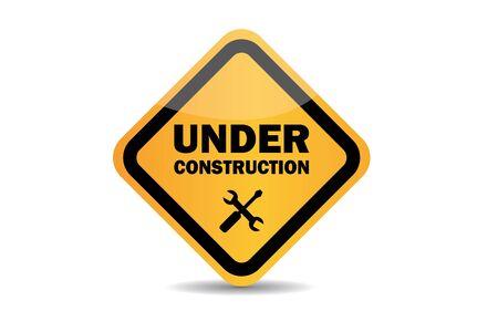 Bajo signo de vector de construcción sobre fondo blanco