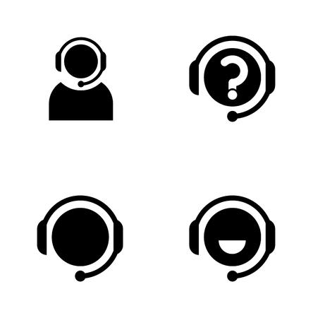 representative: call center person, simple black flat icons set