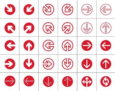 flechas rojas icono redondo Ilustración de vector