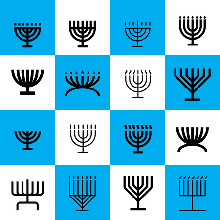 Menorah pattern. Black icons on blue and white background. Menorah shapes pattern. Illusztráció