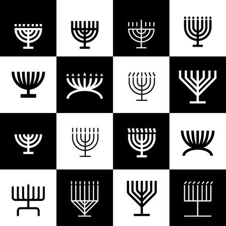 Menorah pattern. Icons set. 16 menorah shapes in one pattern.