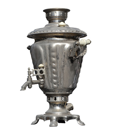 Vintage isolated electric samovar kettle