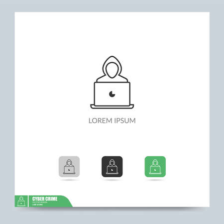 Modern cyber crime icon symbol logo illustration. Graphic vector design element. Design template