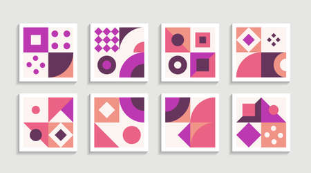 Modern Geometric artwork poster set with simple shape and figure. Abstract minimalist pattern design style for web, banner, business presentation, branding package, fabric print, wallpaper. Graphic design element.